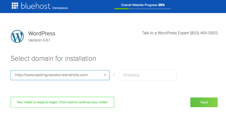 BlueHost WordPress Installer